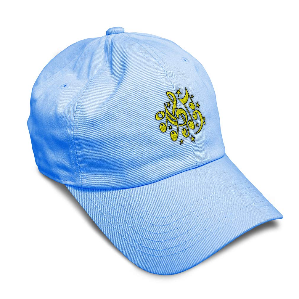 Custom Soft Baseball Cap Yellow Stars Musical Notes Embroidery Twill Cotton
