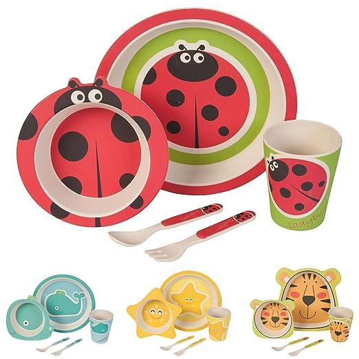 Kinder Geschirr Set Bambus Geschirr Besteck I 5 Teilig I Zauber Fee