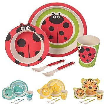 Bambus Geschirr Set Fur Kinder Runder Bambusteller Kinder Besteck