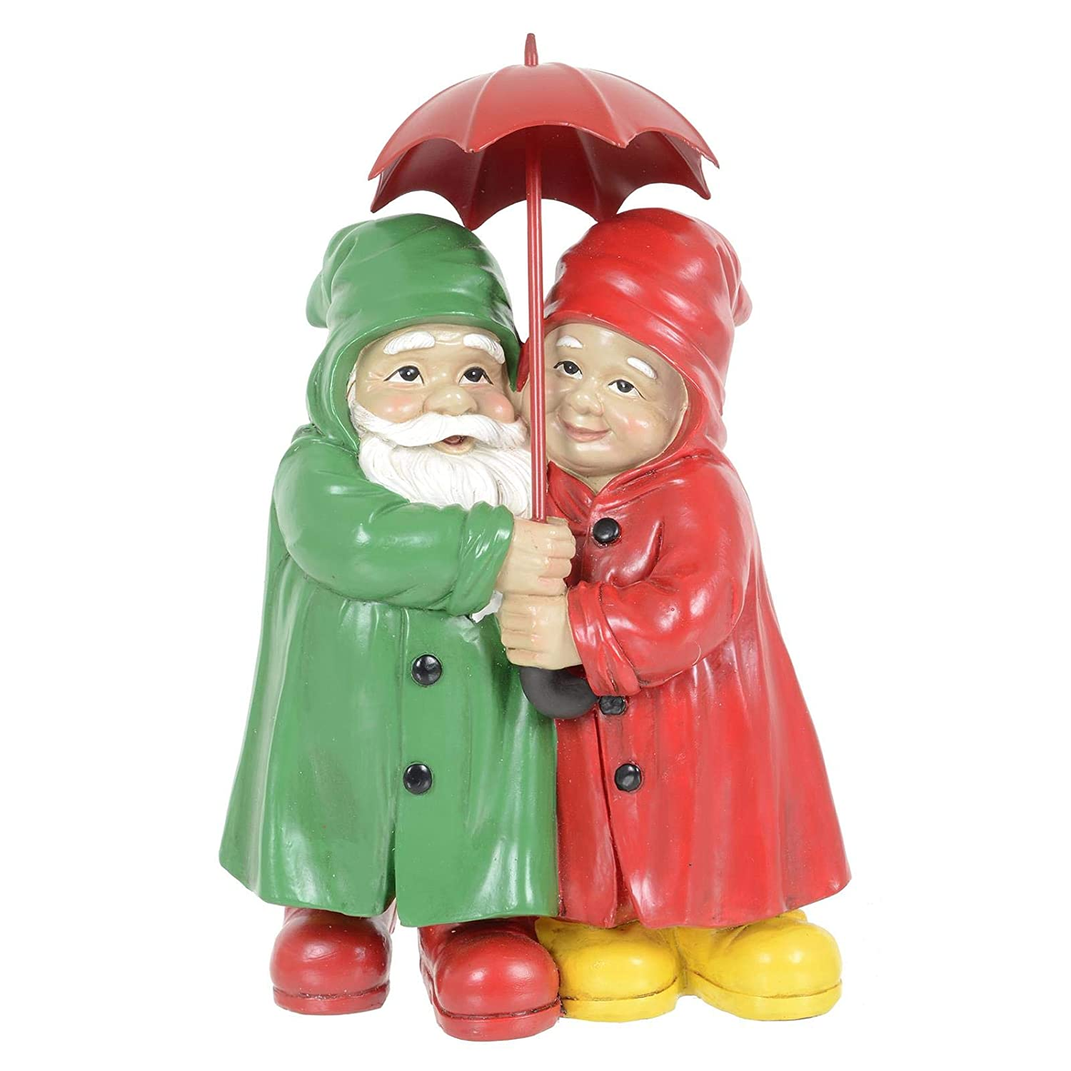 Azuma Garden Gnome Couple Ornament Adorable Novelty Figures Sheltering Under Red Umbrella For Your Lawn Flower Bed Patio Decking Polyresin Decoration Height 27cm