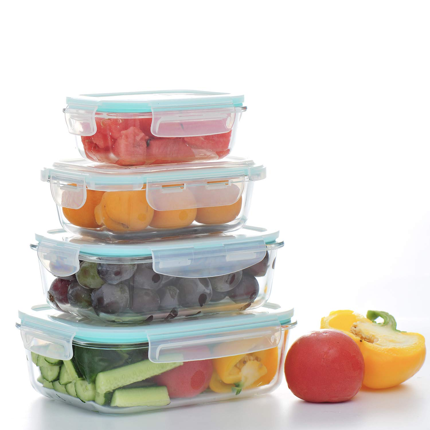 4-Pack Glass Meal Prep Containers/Handsome H/Food Storage Containers with Lids -Safe for Microwave,Oven,Dishwasher,Freezer -BPA Free Container