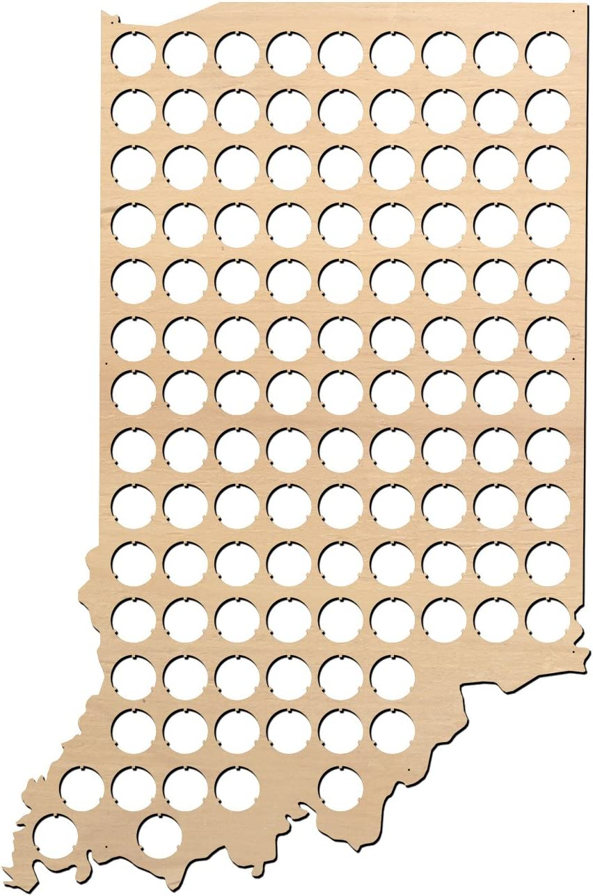 Indiana Beer Cap Map - 15.1x23 inches - 118 caps - Beer Cap Holder Indiana - Birch Plywood