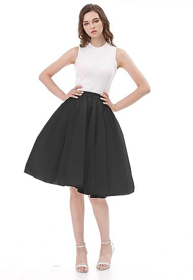 CoutureBridal® Falda ala rodilla de 5 capas Cintura elástica Tutu ...