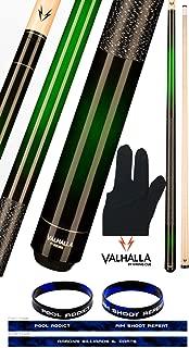 product image for Valhalla VA237 by Viking 2 Piece Pool Cue Stick Green Faded European Stain Nylon Wrap 18-21 oz. Plus Billiard Glove & Bracelet
