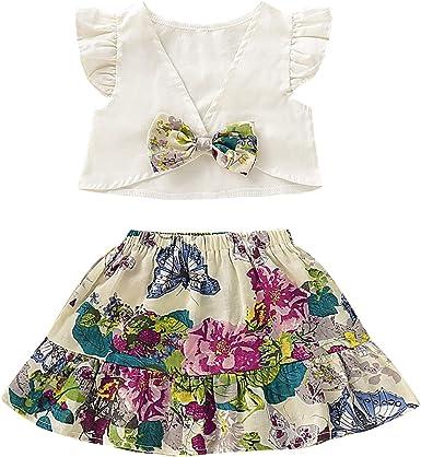 Puseky 2pcs bebé niñas Volante sin Espalda Camisa Corta + ...