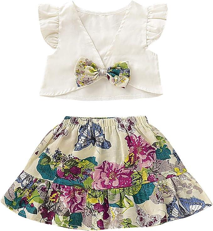Puseky 2pcs bebé niñas Volante sin Espalda Camisa Corta + Vestido ...