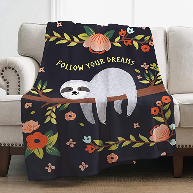 Flannel Plush Throw Blanket Namastay in Bed Sloth Lightweight for Bed Couch Living Room