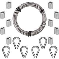 TOYMIS 17-delige Kabelkit 2mmx10m Pvc-Gecoate Roestvrijstalen Staaldraad, Inclusief 10-Delige Aluminium Krimpmouwen En 6…