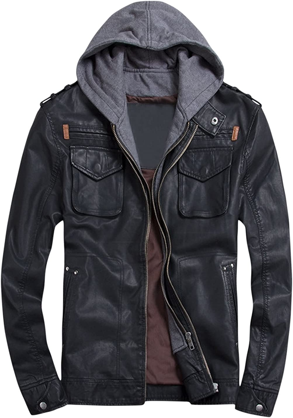 Springrain Mens Detachable Hood Zipper Outerwear PU Leather Moto Biker Jacket Coats