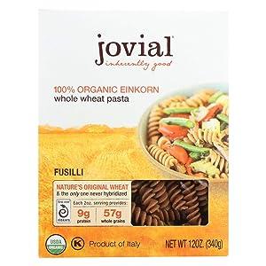 Jovial Fusilli Einkorn Pasta   Organic Whole Grain Fusilli   Non-GMO   High Protein   Lower Carb   USDA Certified Organic   Kosher   Delicious Pasta   Made in Italy   12 oz (12 Pack)