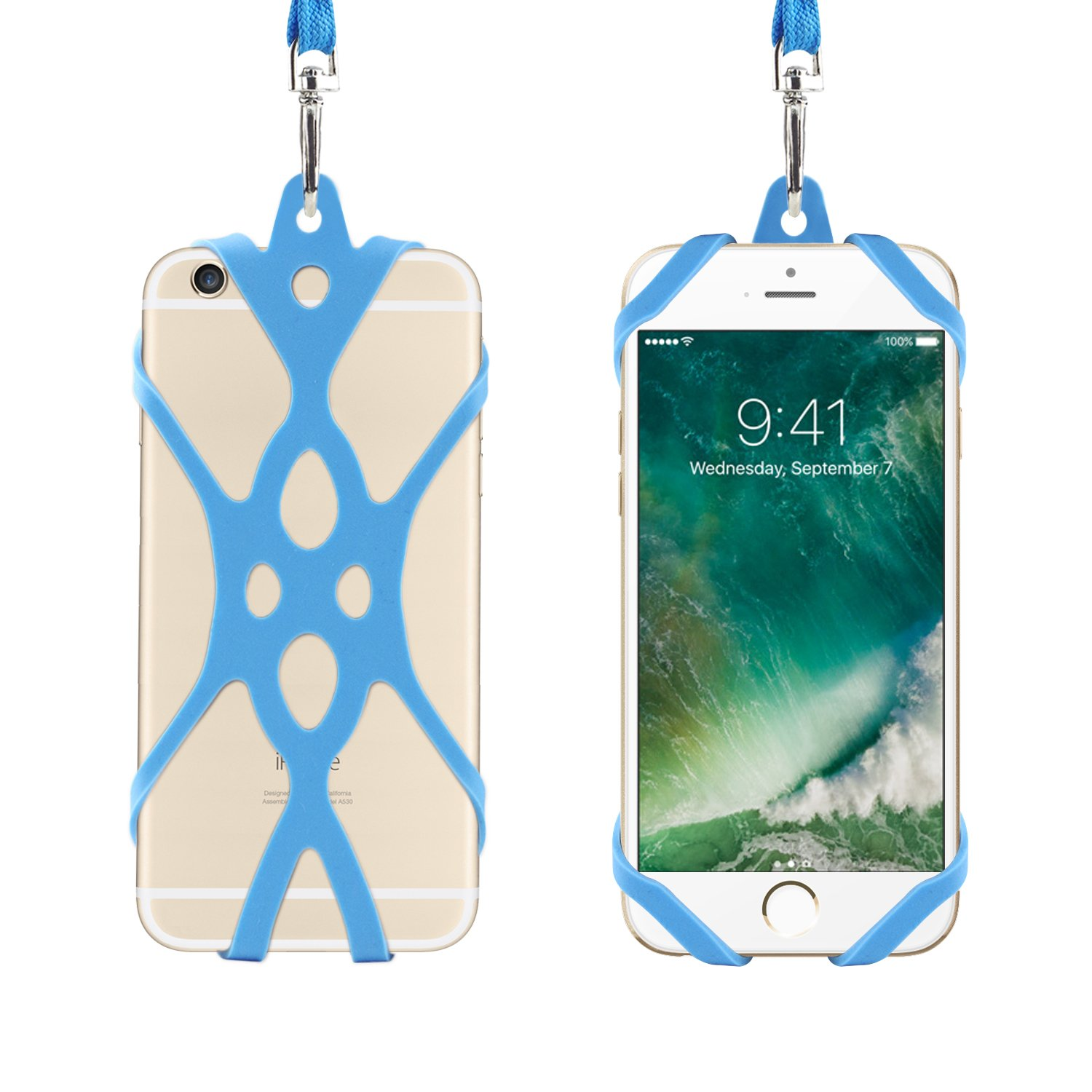 Remeel Phone Lanyard Strap with Universal Silicone Case Holder for iPhone X iPhone 8/plus iPhone 7/plus iPhone 6/6s/plus and Even All Size Smartphone (Indigo)