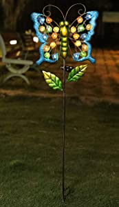 "WSgift 39"" Solar Stake Butterfly, Solar Powered Garden Outdoor Stake Lights Metal Butterfly 22 Pcs Warm White Sea Glass LED Garden Lights for Walkway,Pathway,Yard,Lawn 12""(L) x 2.4""(W) x 39""(H)"