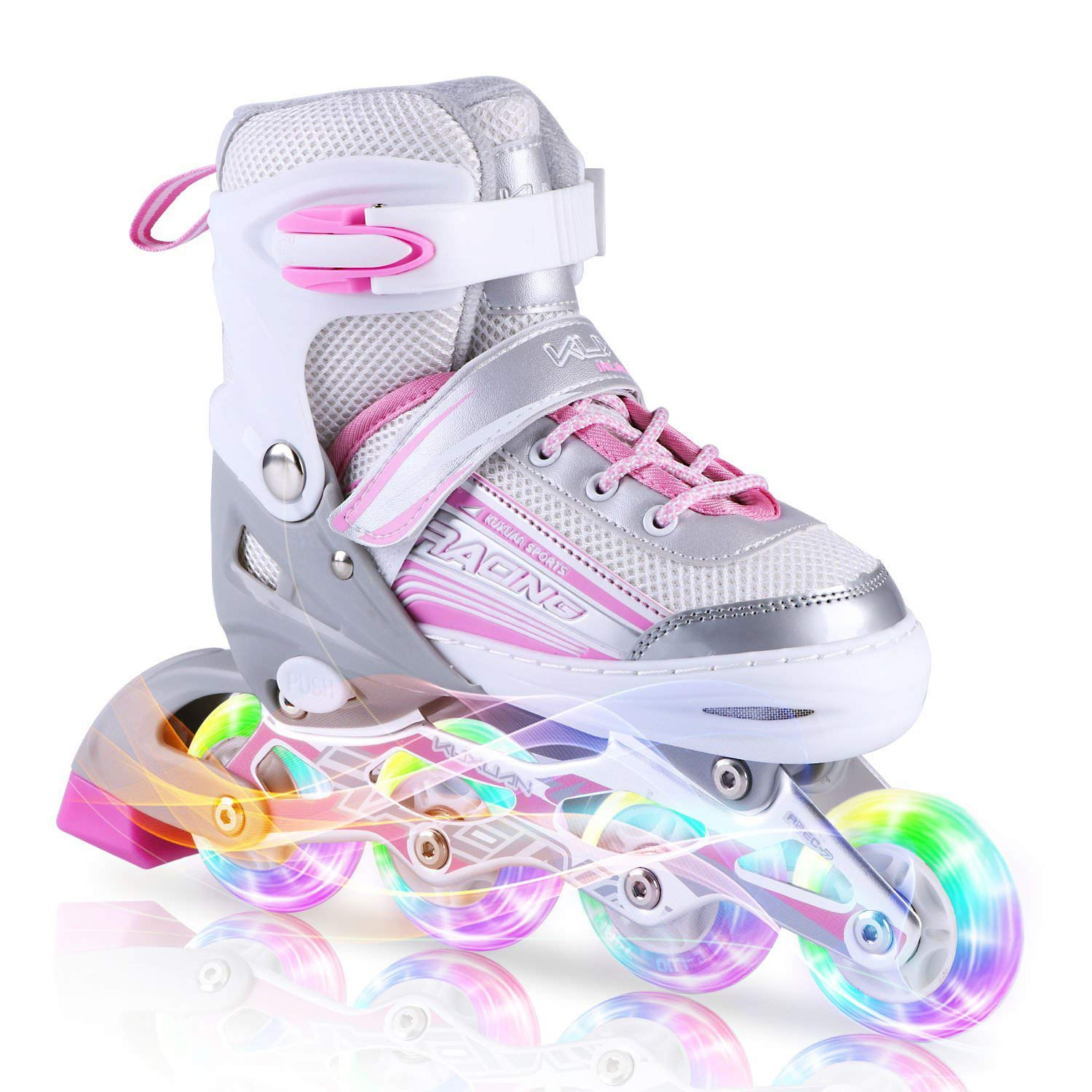 Kuxuan Saya Inline Skates Adjustable for Kids,Girls Rollerblades with All Wheels Light up,Fun Illuminating for Girls and Ladies - Small by Kuxuan (Image #1)