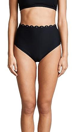 f51f4ca9a86b8 Kate Spade New York Women's Morro Bay Scalloped High Waist Bikini Bottoms,  Black, Medium