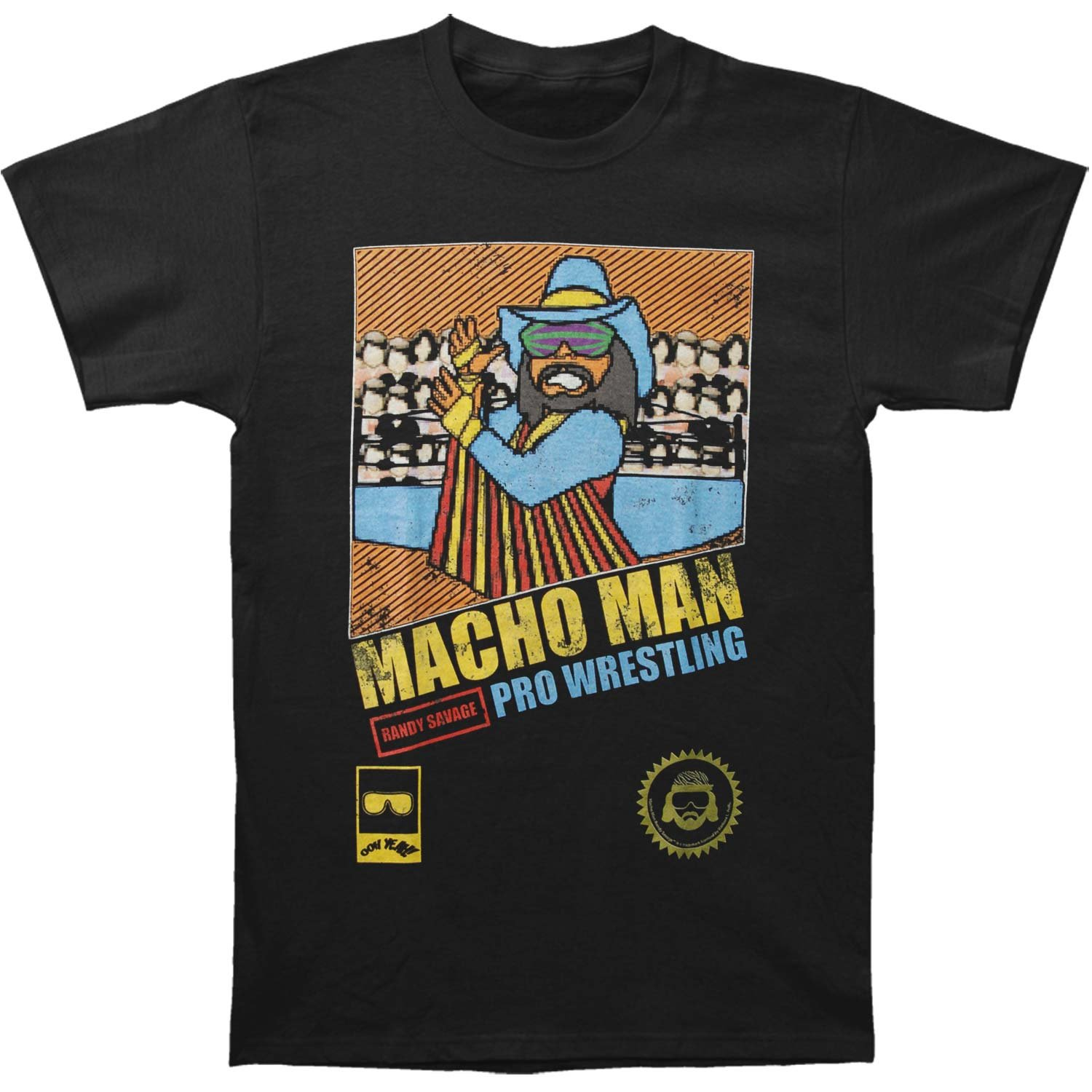 Macho Man Men's Pro Wrestling Slim Fit T-shirt XXXXX-Large Black by Macho Man