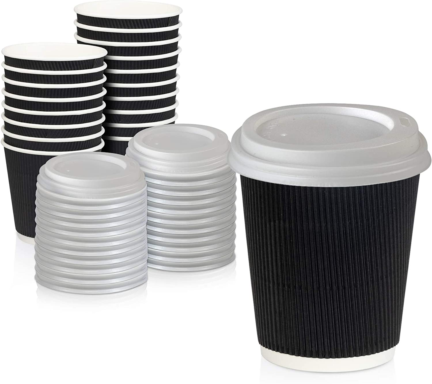 [50 Pack] Disposable Hot Cups with Lids - 8 oz Black Double Wall Insulated Ripple Sleeves Coffee Cups with White Dome Lid - Kraft Paper Cup for To Go Chocolate, Tea, and Cocoa Drinks