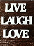 Small Block Lettering Cream Live Love Laugh #HEART118 by RJB Stone