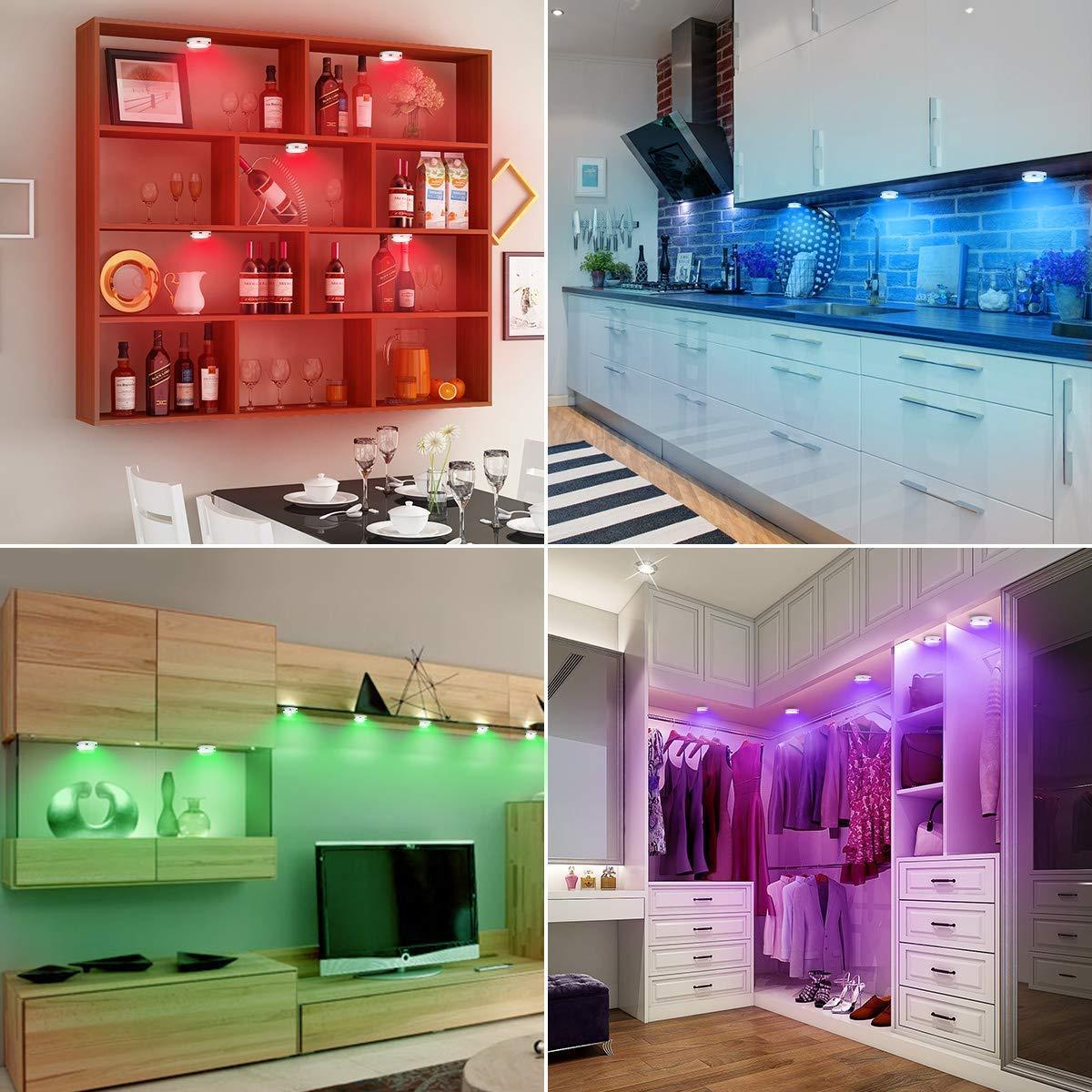 Kanavi 6 Packs Luces Nocturnas LED Inal/ámbricas con 2 Remoto,16 Colores Brillo Ajustable Alimentado por Bater/ía para Iluminaci/ón de Armarios etc no Incluido Luces para Gabinetes LED