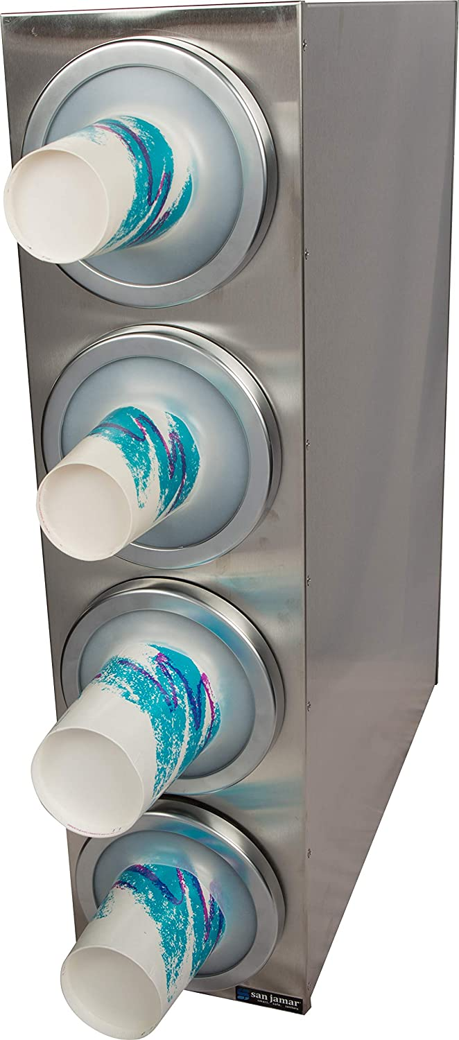 4 Sections San Jamar C2804 Stainless Steel Ez-Fit Box System Cup Dispenser