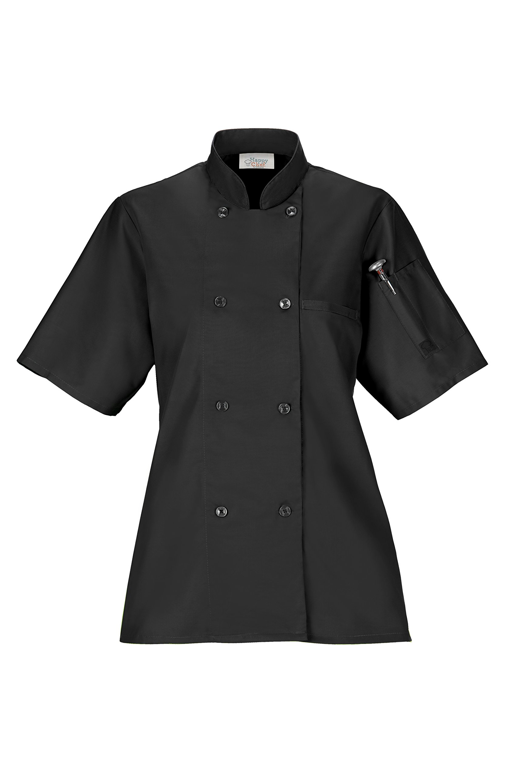 Women's Lightweight Chef Coat (X-Large, Black)