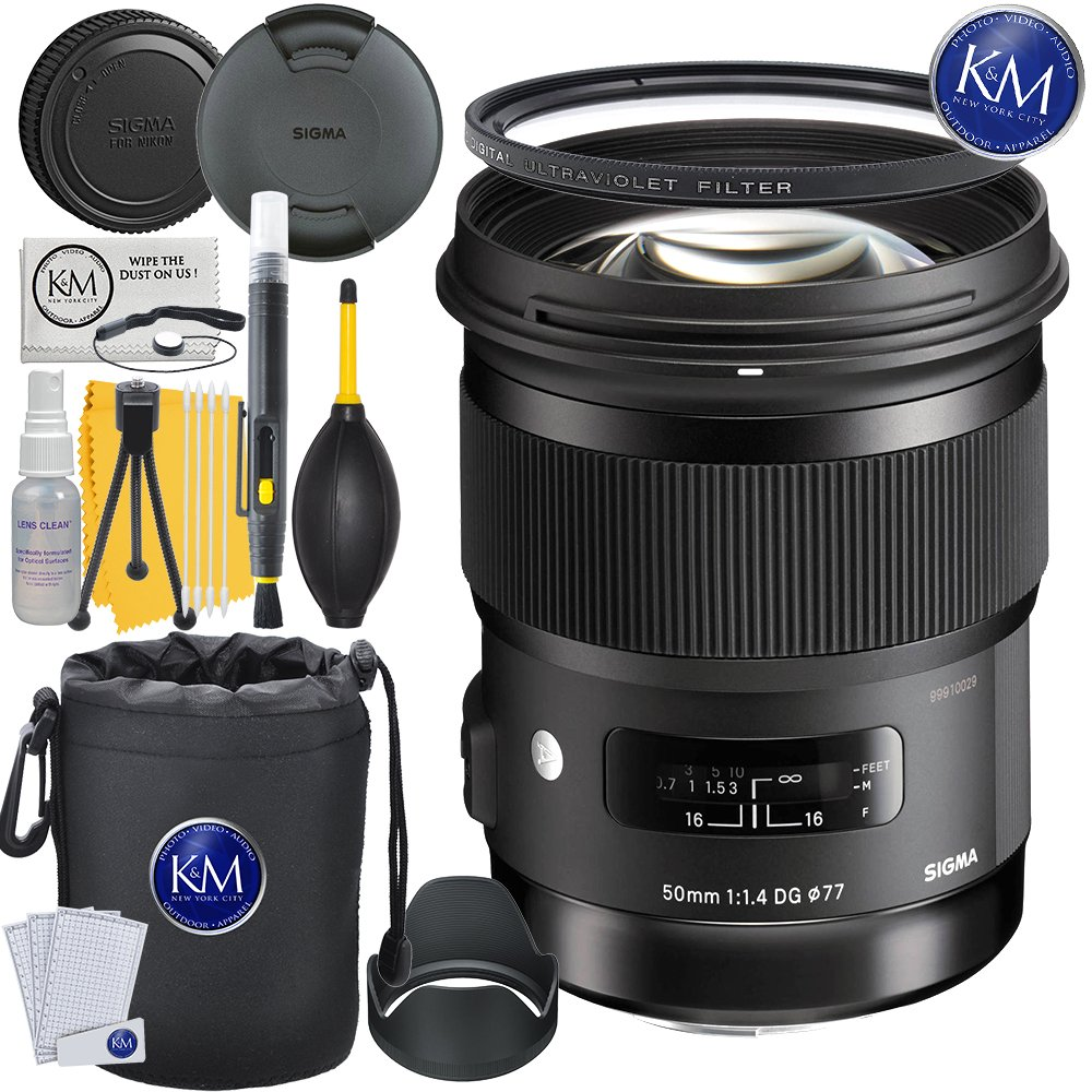 Sigma 50mm f/1.4 DG HSM Art Lens for Nikon F Mount + Essential Lens Bundle