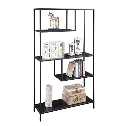 HOME BI Bookshelf Storage Organizer Shelves, Unit Metal Open Bookcase Shelf Standing for Office, Study Room, Living Room, Black, 3-Tier