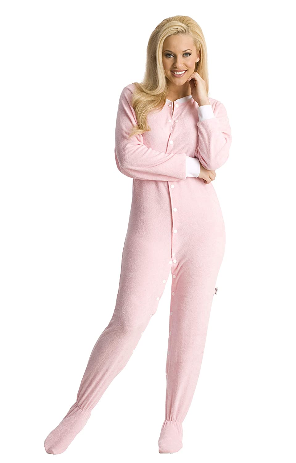 ABDL Supply Pink Terry Cloth Adult Footed Onesie Pajamas