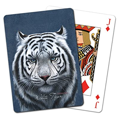 Tree-Free Greetings Deck of Playing Cards, 2.5 x 0.8 x 3.5 Inches, Siberian White Tiger (CD15928) : Office Products