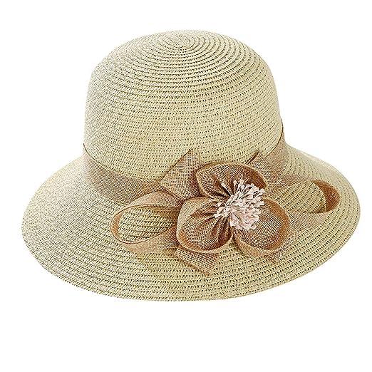 637d55d545 iLXHD Womens Wide Brim Sun Hat with Wind Lanyard UPF 50 Beach Summer Sun  Straw Hats