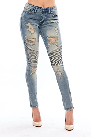 Womens Ripped Destroyed Biker Denim Washed Slim Fit Skinny Jeans ...