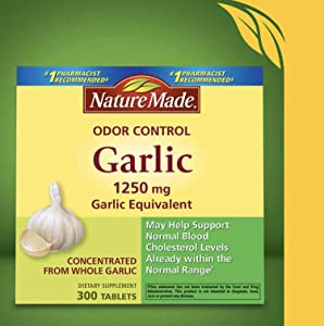 Nature Made Odor Control Garlic, 1250mg, 1 Pack of 300 Tablets