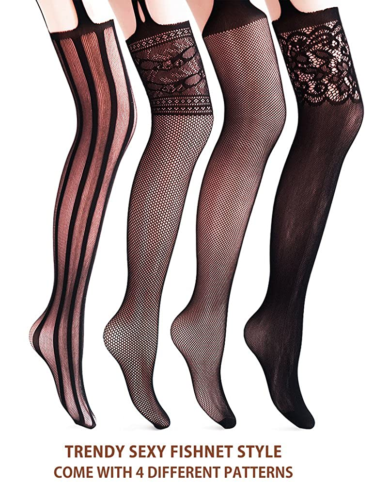 831b630b5ed75 VERO MONTE 4 Pairs Suspender Tights 4 Women Thigh Highs Stockings  Fishnet(BLACK) at Amazon Women's Clothing store: