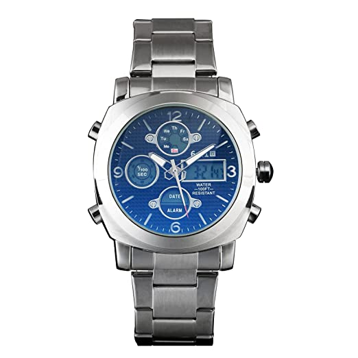 Mens Digital Cuarzo Reloj Cuadrado Multificition Plata Negro Hombre Fecha Auto: Amazon.es: Relojes