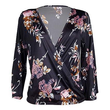 Mujeres Tops Rovinci Mujer Normal Elegante De Moda Cómodo Estampado de Flores Manga Larga Camisa Camiseta