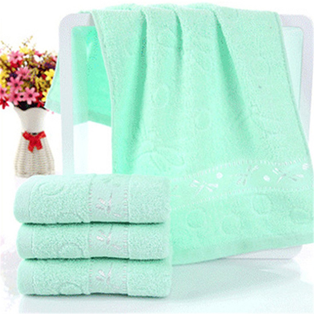 Colorido Dragonfly Pattern Soft Breathable Absorbent Household Bath Face Towel size Medium (Green)