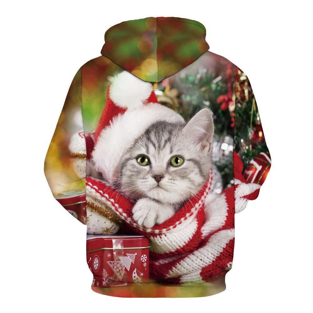 Christmas Xmas 3D Cute Pet Cat Animal Printed Pullover Hooded Women Men Unisex Couples Plus Size Autumn Winter Long Sleeve with Pocket Top Sweatshirt Outwear Fashion T-Shirts