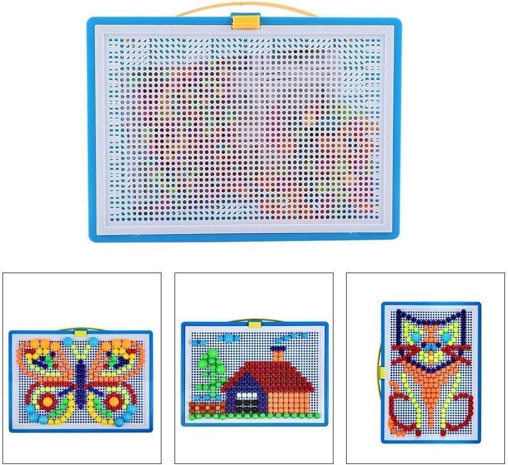 Pegboard Mushroom Nail Jigsaw Peg Puzzle Juego para Niños Niños-Aleatorio Color, 296pcs