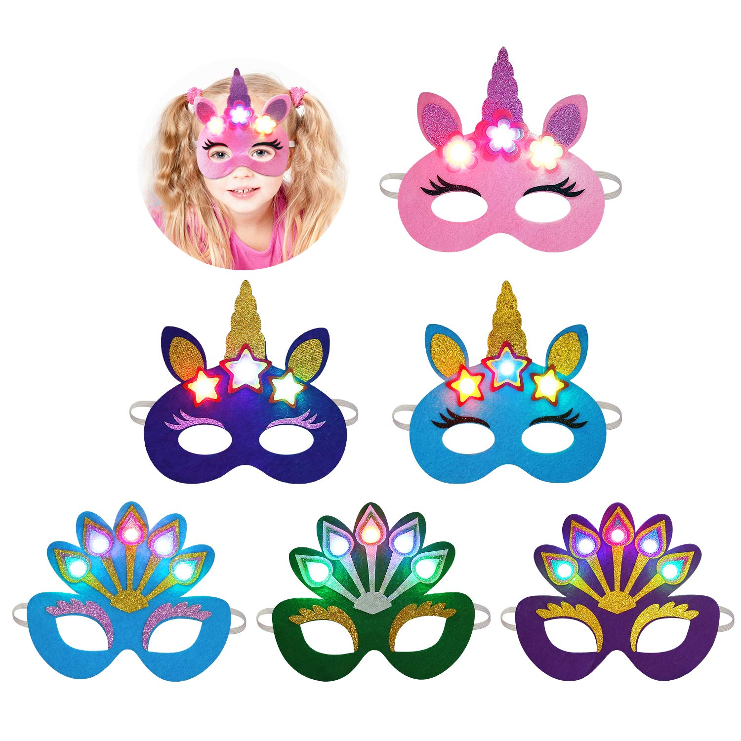Halloween Mask LED, Aniwon 6PCS Light Up Cartoon Unicorn Peacock Eye Mask Half Mask Cute Costume Mask Christmas Carnival Party Favors Supplies for Kids Adults