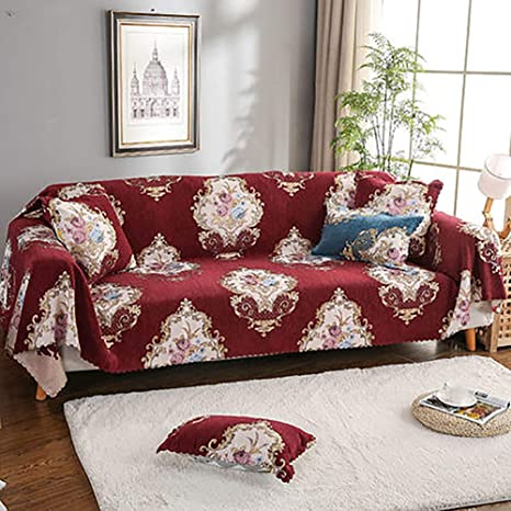 Chenille Sofa cover, Printed Floral Couch covers Anti slip ...