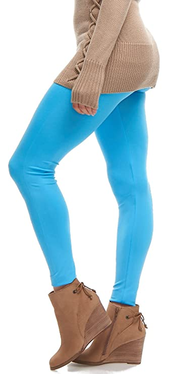 b3d941cbce807 Lush Moda Seamless Full Length Basic Leggings - Variety of Colors - Aqua,  One Size fits Most (XS - XL) at Amazon Women's Clothing store:
