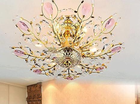Lampadario Rosa Cristallo : Pavone cristallo rosa plafoniera camera da letto della lampada