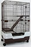 "Dreamhome Heavy Duty Chinchilla Cage with Urine Guard - 3-story - 24x17x38"" - Brown"
