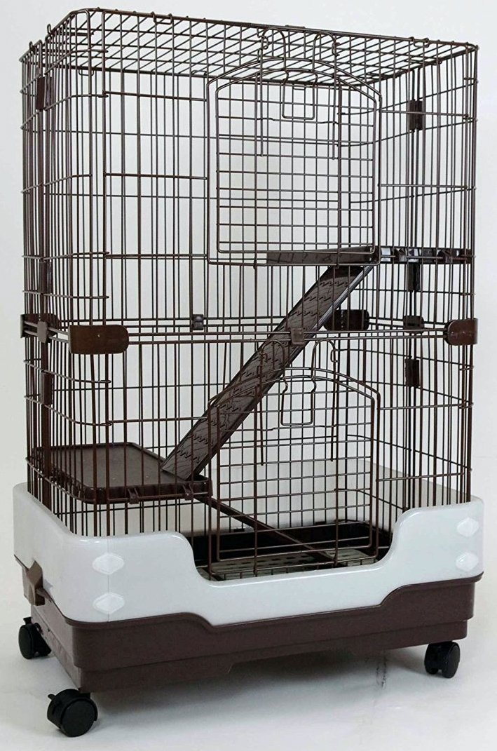 Dreamhome Heavy Duty Chinchilla Cage with Urine Guard - 3-story - 24x17x38'' - Brown