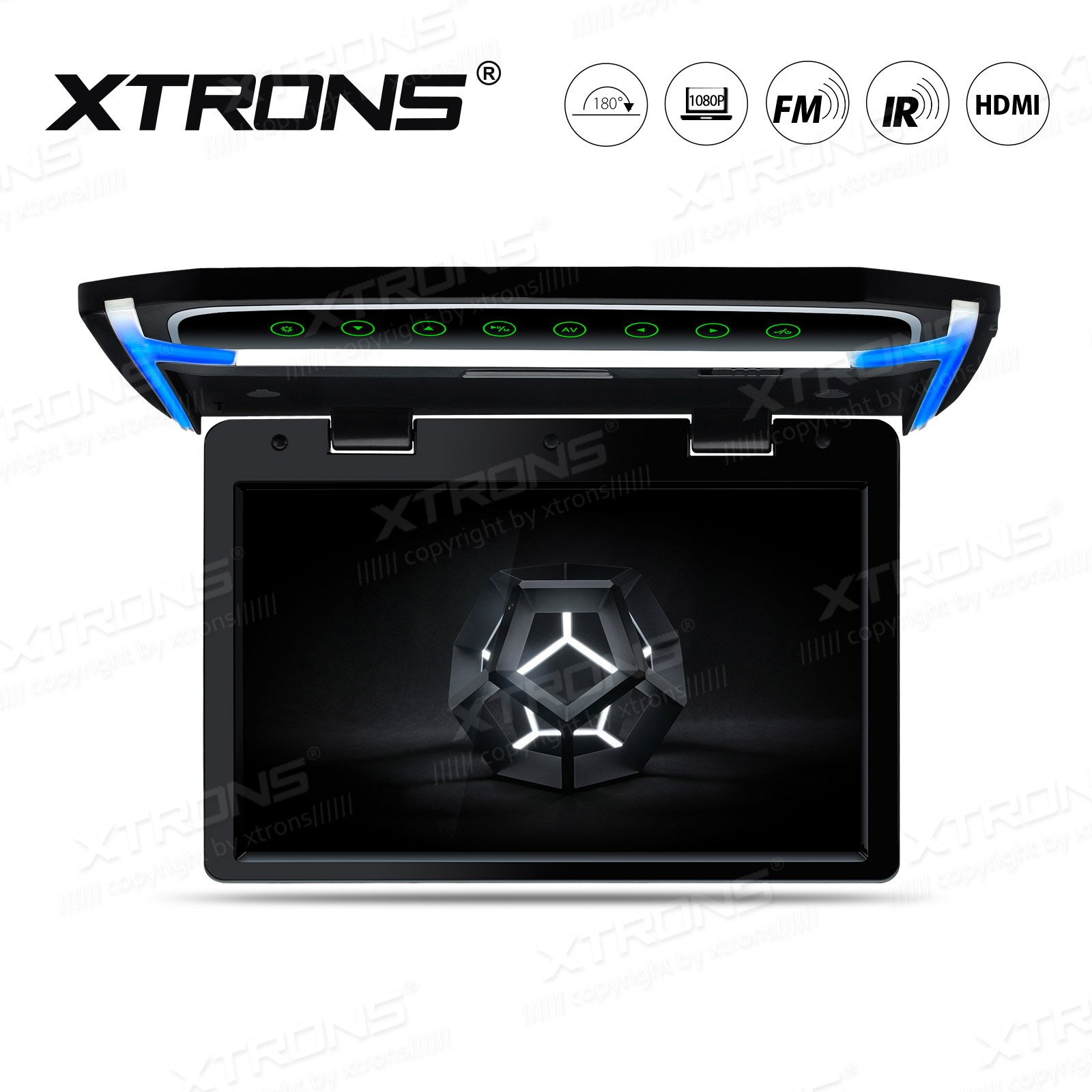 XTRONS 10.2 Inch Digital TFT Screen 1080P Video Car Overhead Player Roof Mounted Monitor HDMI Port by XTRONS