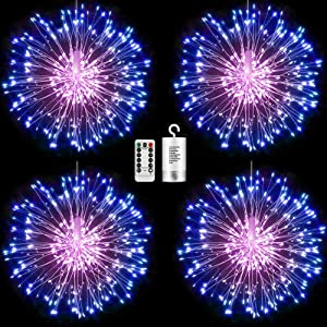 FOOING 4 Pack Firework Lights Led Copper Wire Starburst String Lights 8 Modes Battery Operated Fairy Lights with Remote,Wedding Christmas Decorative Hanging Lights for Party Patio Decor (Blue Pink)