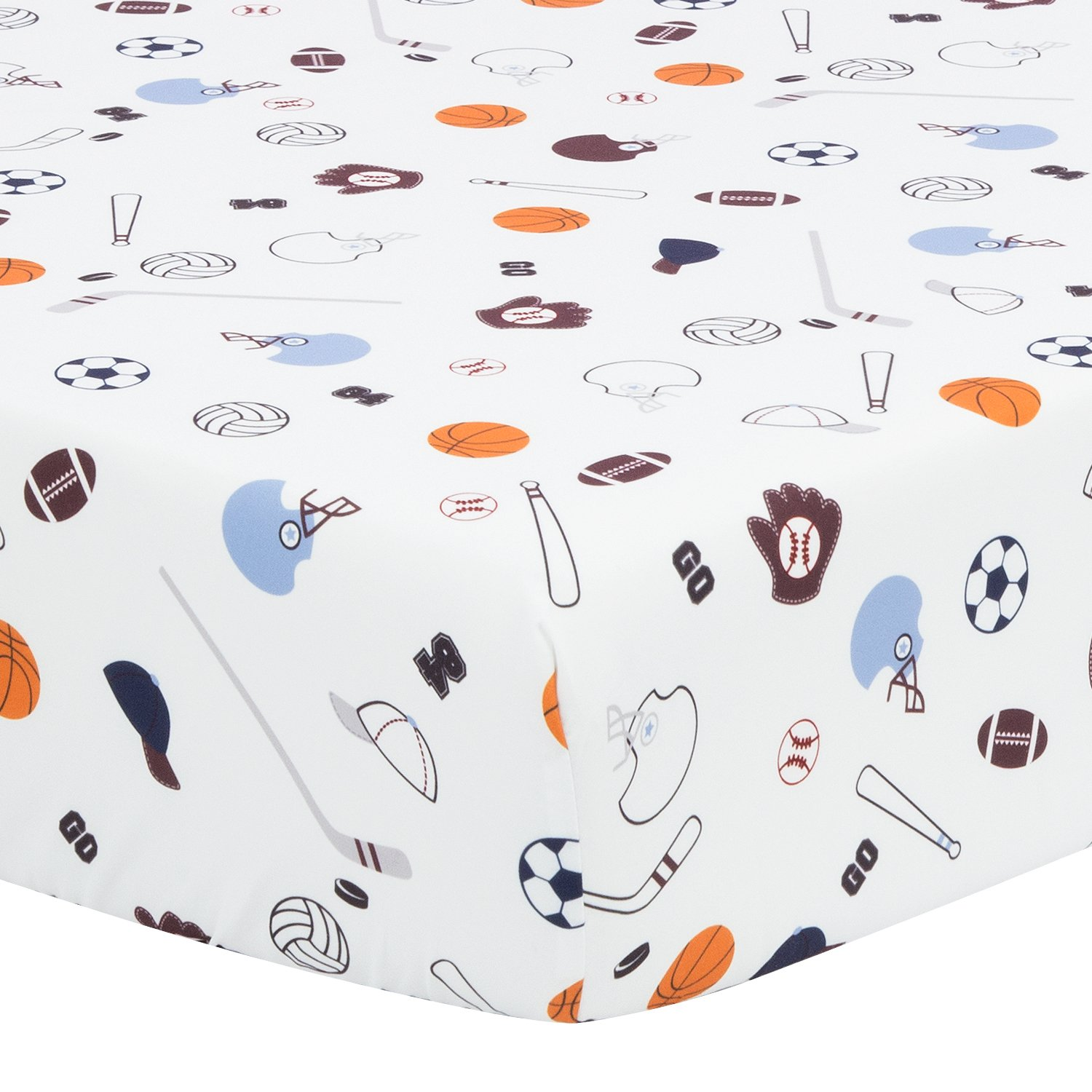 TILLYOU Microfiber Sports Crib Sheet, Ball Games Toddler Sheets for Baby Boys and Girls, Silky Soft Breathable Cozy Hypoallergenic, 28 x 52in