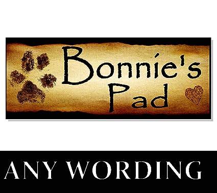cwb2jcwb2jcwb2j - Placa de Madera Personalizable con Nombre de Huella rústica para Perro, para casa