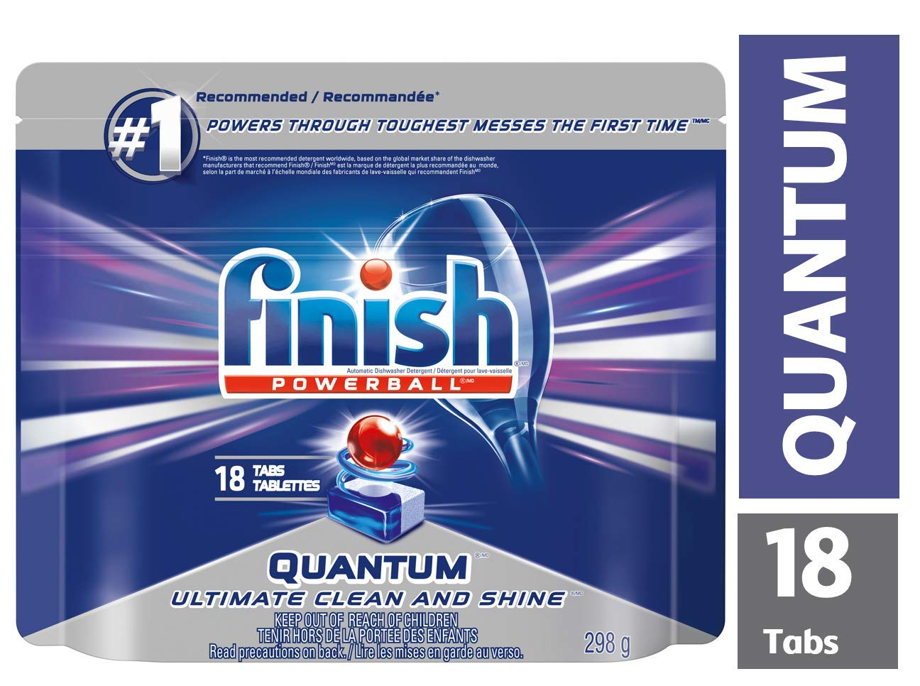 Finish Dishwasher Detergent, Quantum Max, Lemon, 18 Tablets, Shine and Glass Protect