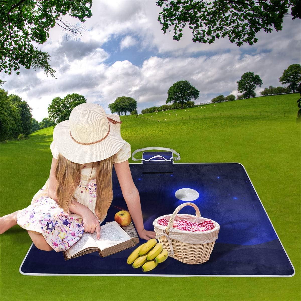 XINGAKA Couverture de Pique-Nique,Fleurs Bleues imprimé Graphique Petit Floral,Tapis Idéale pour Plage Jardin Parc Camping 20