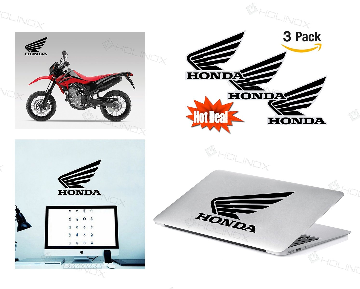 Amazoncom Honda Motorcycle Logo Stickers Decal Set Of Decals - Car sticker decal for girlsgirl motorcycle promotionshop for promotional girl motorcycle on